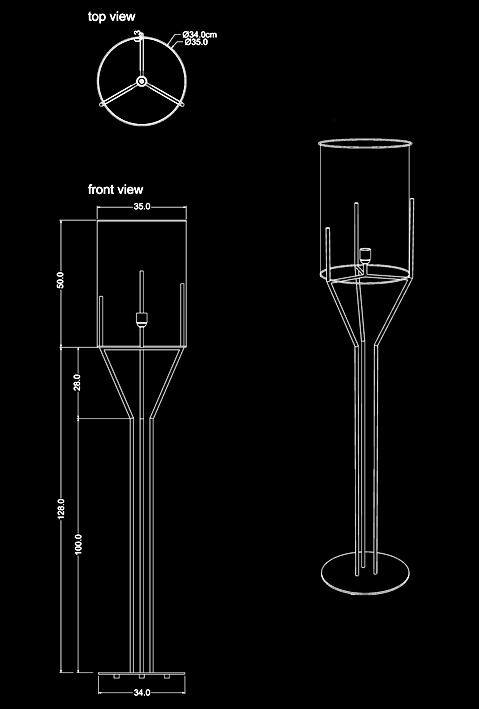 trio floor lamp technical drawing by piment rouge lighting bali