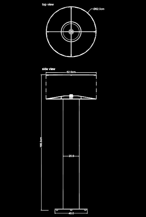 wood trunk floor lamp technical drawing by piment rouge lighting bali