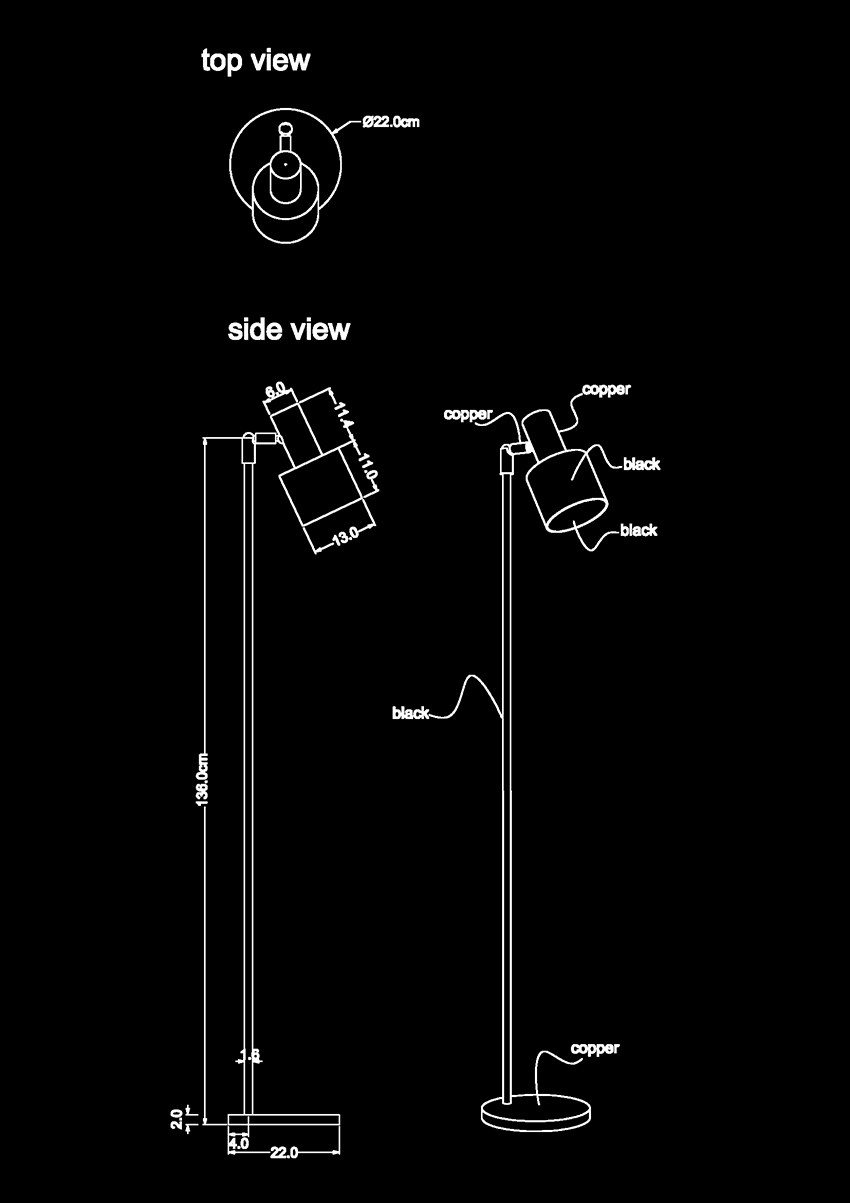 solo floor lamp technical drawing by piment rouge lighting bali