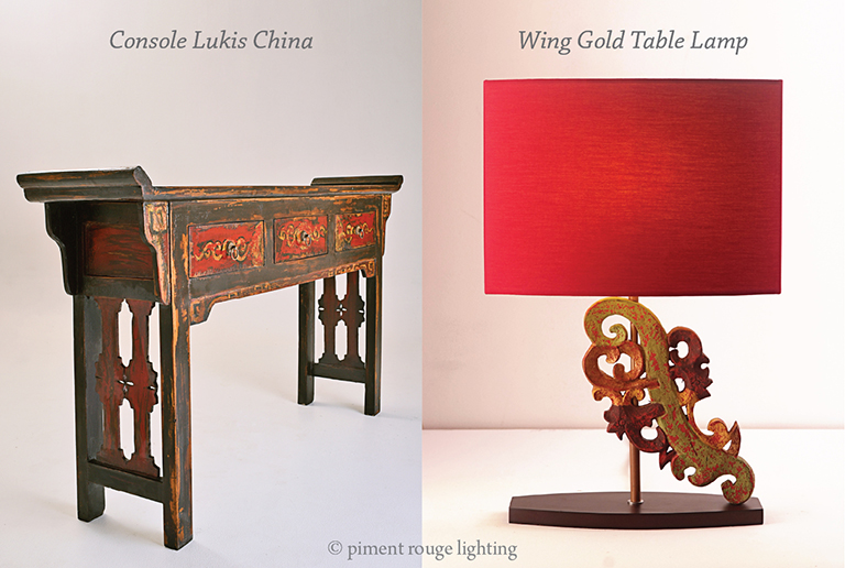 Oriental Furniture Console Table And Table Lamp By Piment Rouge Lighting  Bali