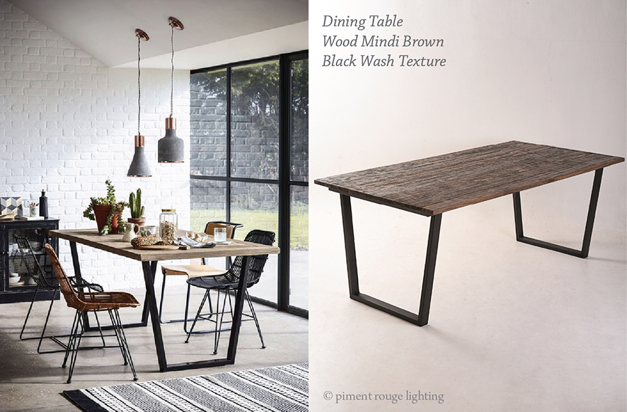 industrial style dining room with industrial style dining table by piment rouge lighting homeware design bali