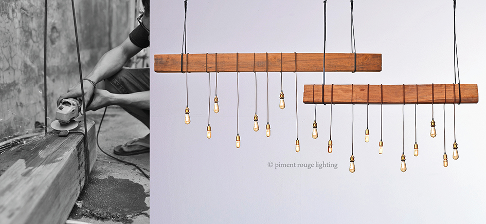 rustic bare wood pendant lamp with edison bulbs and brass fittings by piment rouge lighting bali