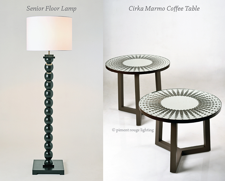 black balls senior floor lamp and cirka marmo coffee table by piment rouge lighting bali