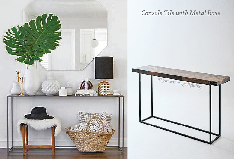 Console Table Tile with Metal Base for A Tropical Corner by Piment Rouge Lighting Bali