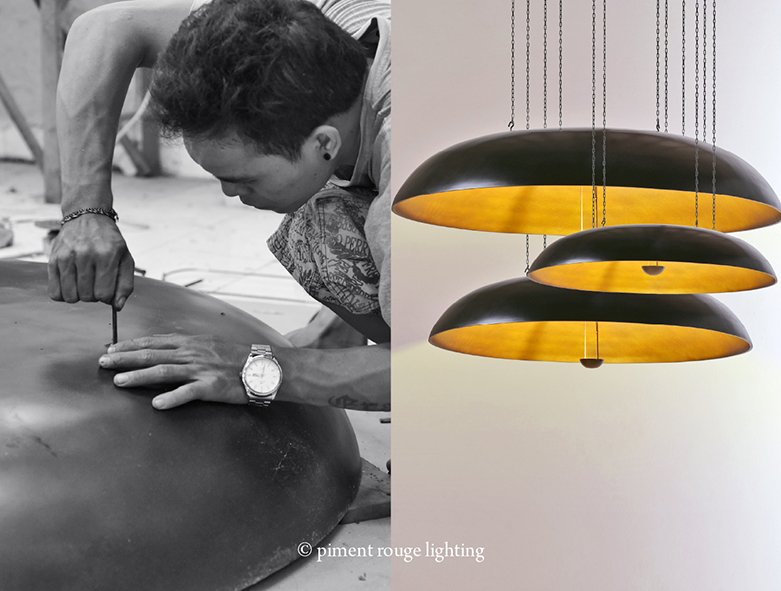 hanging coupola lamps by piment rouge lighting bali
