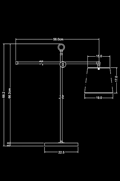 Large Newton Desk Lamp by Piment Rouge Lighting Bali - Technical Drawing