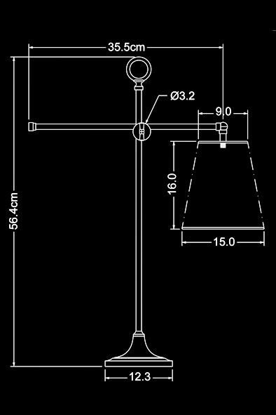 Newton Table Lamp by Piment Rouge Lighting Bali - Technical Drawing