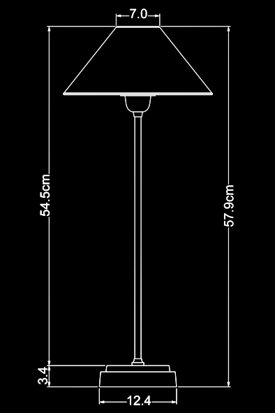 Thomas Table Lamp by Piment Rouge Lighting Bali - Technical Drawing