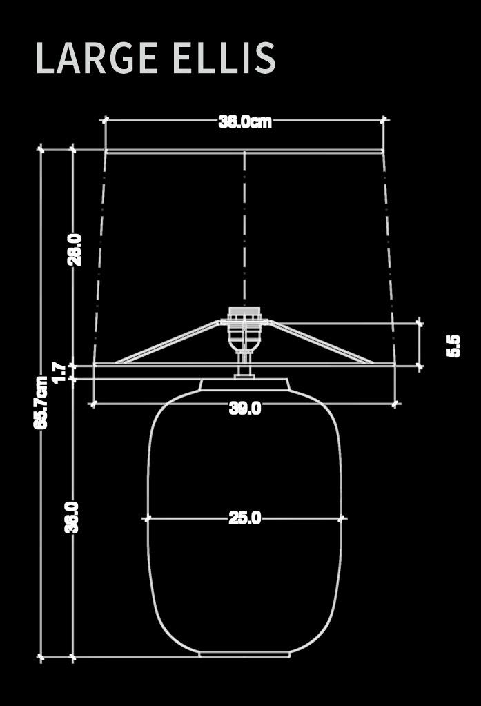 piment rouge custom lighting manufacturer - large ellis table lamp technical drawing