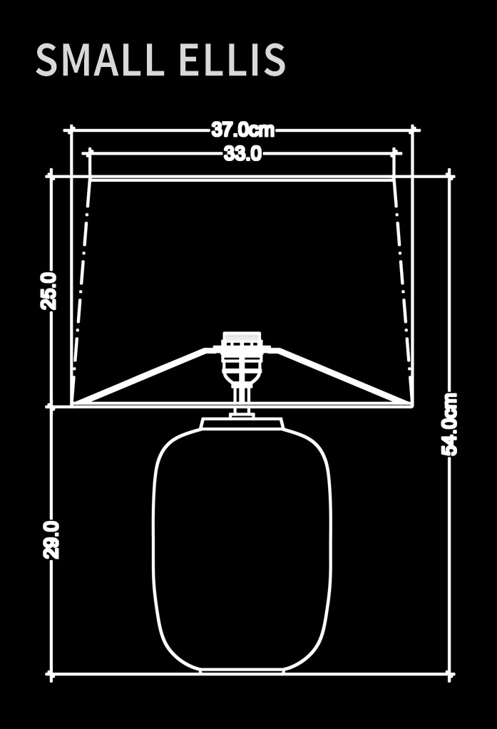 piment rouge custom lighting manufacturer - small ellis table lamp technical drawing