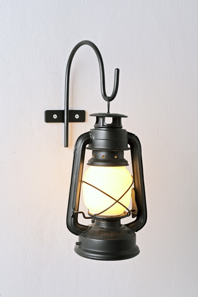 Black Wall-mounted Storm Lantern by Piment Rouge Lighting Bali