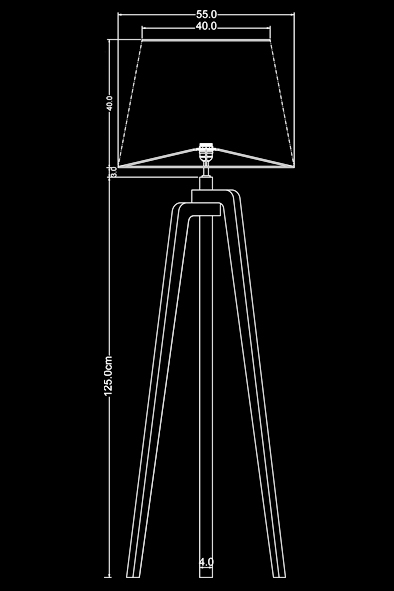 Ottori Floor Lamp by Piment Rouge Lighting Bali - Technical Drawing