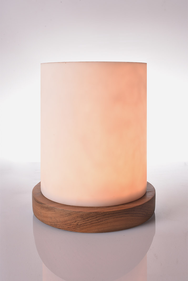 Piment Rouge Lighting Bali - Aura Table Lamp with Teakwood Base