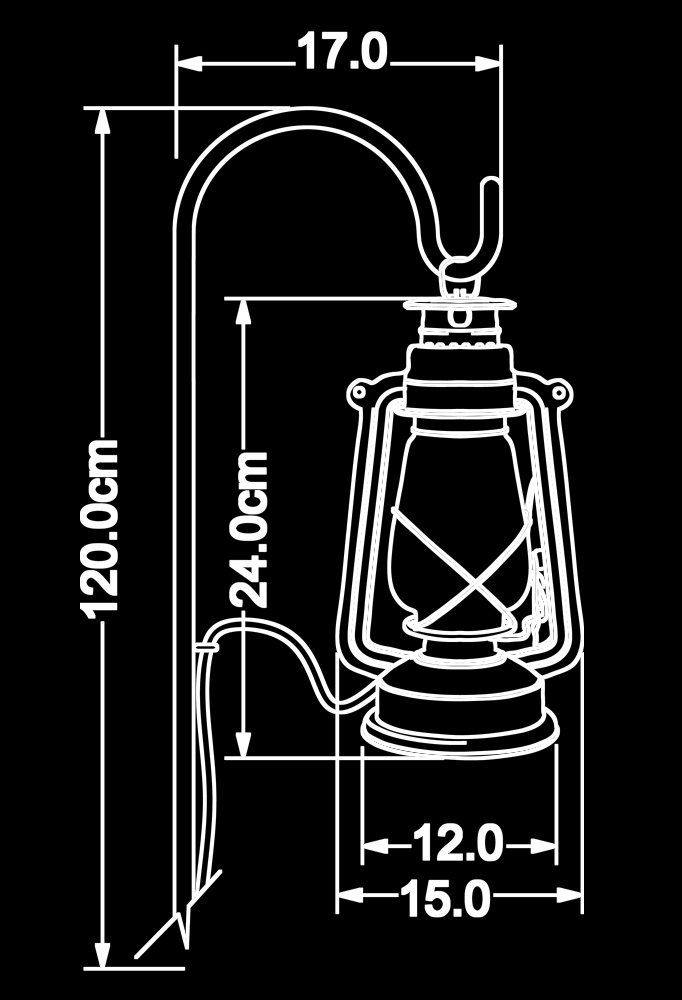 Piment Rouge Lighting Bali - Black Standing Storm Lantern Technical Drawing