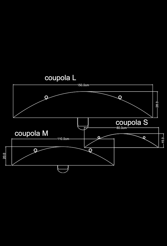 Piment Rouge Lighting Bali - Coupola Pendants Technical Drawing