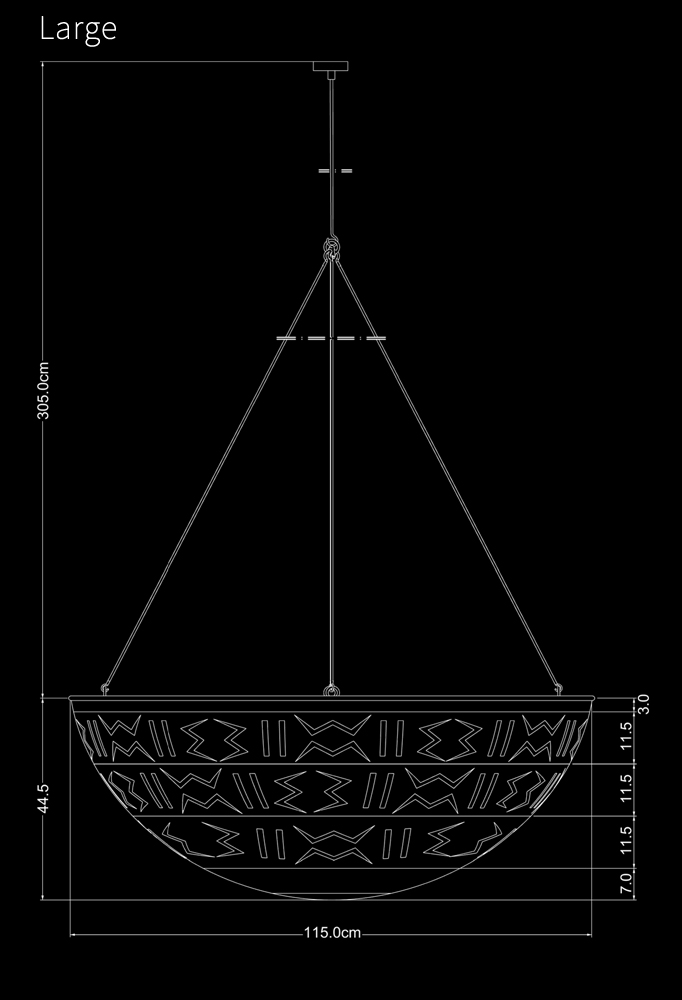 Piment Rouge Lighting Bali - Large Calabash Pendant Technical Drawing