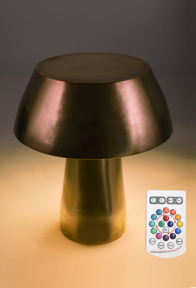 Piment Rouge Lighting Bali - Mushroom Lamp pictured with Remote Controller
