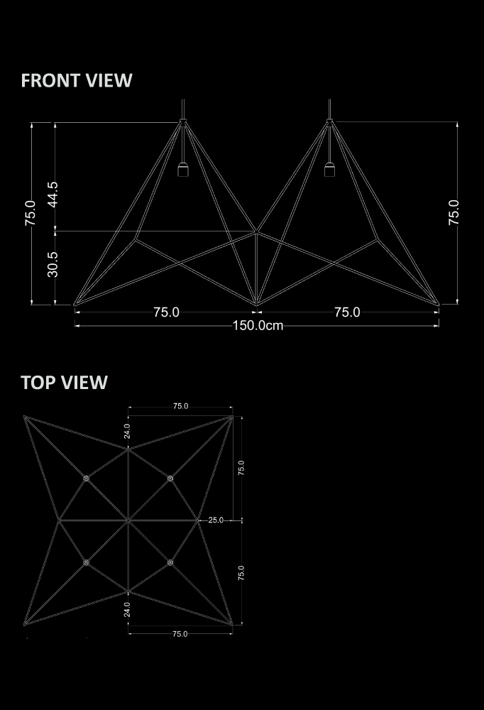 Piment Rouge Lighting Bali - Origami Pendant Technical Drawing