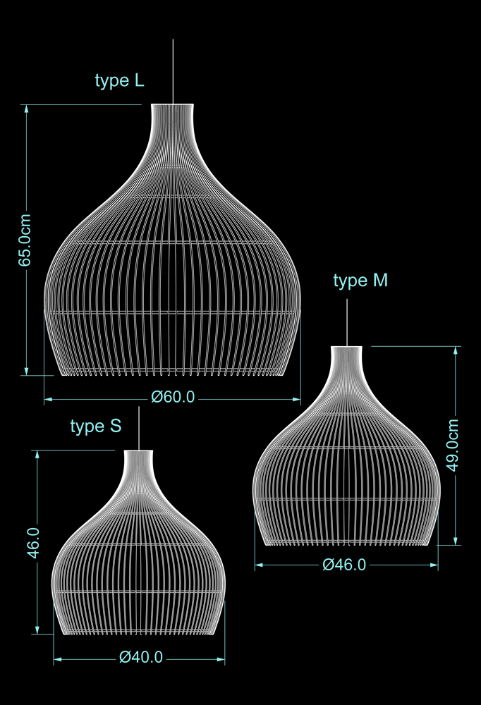Piment Rouge Lighting Bali - Rattan Drop Pendants Technical Drawing