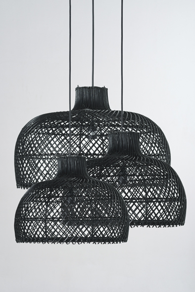 Rattan Bell Pendants | Piment Rouge Custom Lighting Project