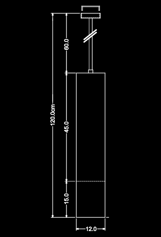 Piment Rouge Lighting Bali - Brass Tube Pendant Technical Drawing