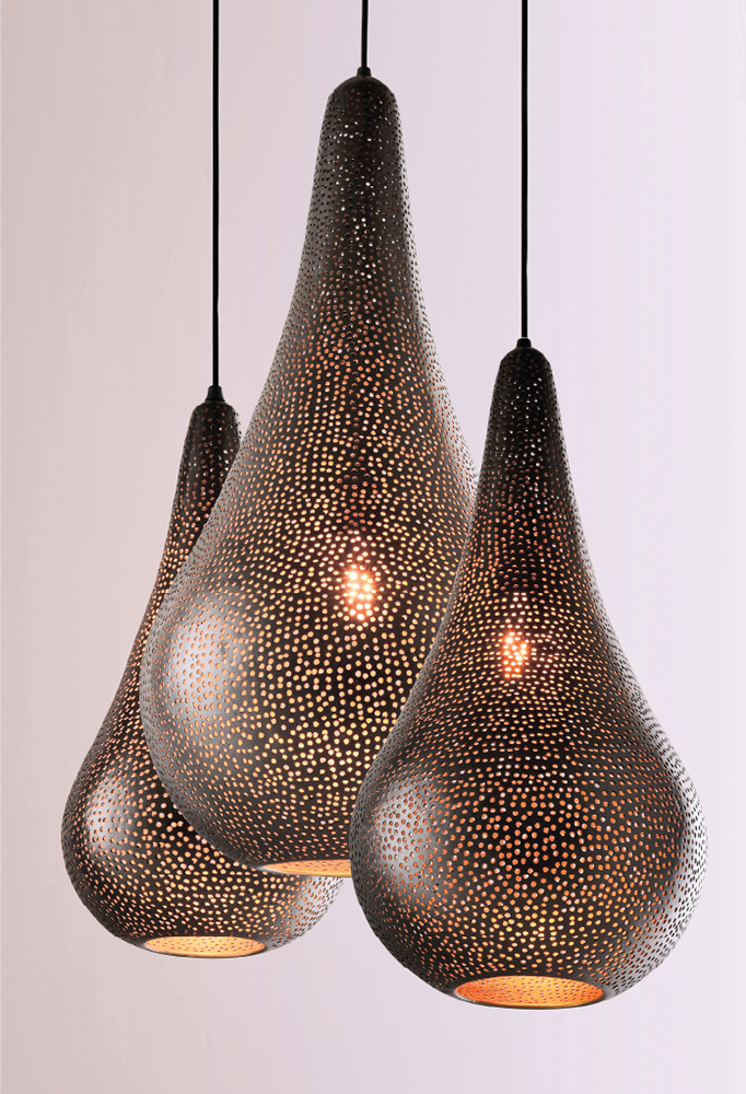 Piment Rouge Lighting Bali - Perforated Drop Pendants