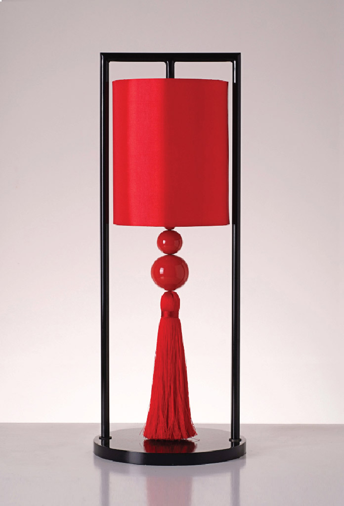 Piment Rouge Lighting Bali - Red Chester Table Lamp 2