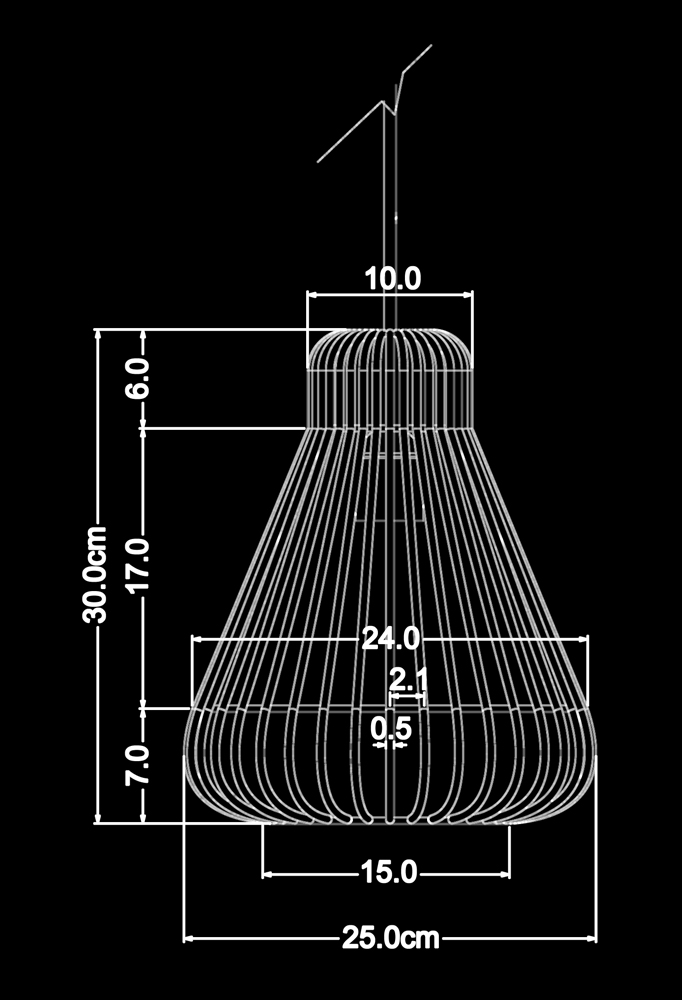 Piment Rouge Lighting Bali - Shell Strains Pendant Technical Drawing