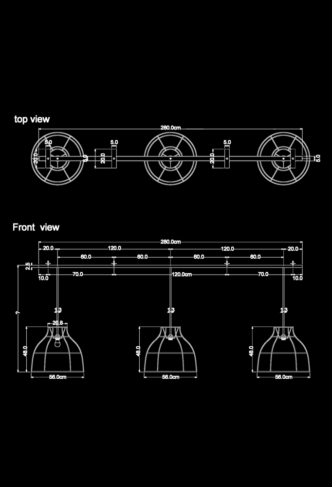 Piment Rouge Lighting Bali - Triple Rattan Bell Pendant Technical Drawing