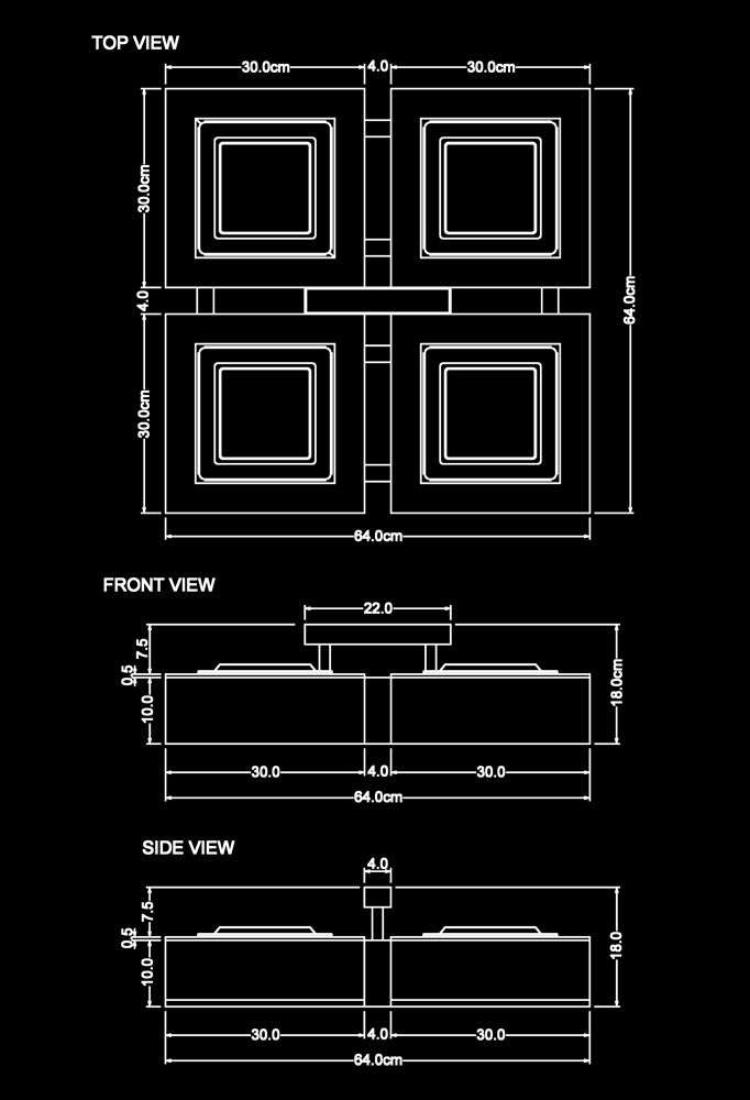 Piment Rouge Lighting Bali - Wooden Quadro Ceiling Lamp Technical Drawing