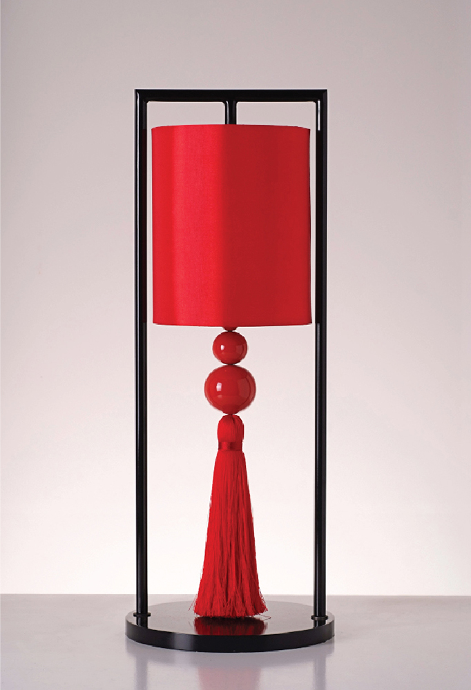 Piment Rouge Lighting Bali - Chester Table Lamp in Red and Black