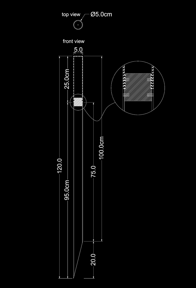 Piment Rouge Lighting Bali - Outdoor Light Stick Technical Drawing