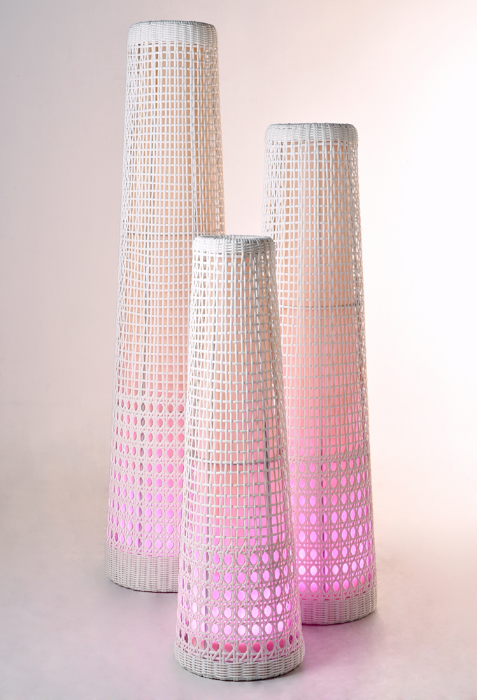 Piment Rouge Lighting Bali - All-white Lythos Lamps in Pink Glow