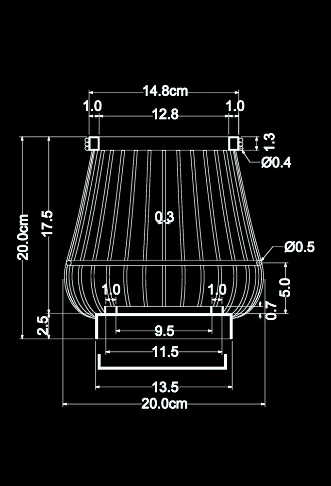 Piment Rouge Lighting Bali - Mini Brass Basket Lamp Technical Drawing