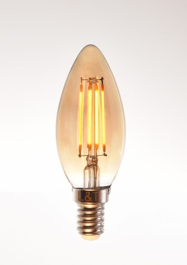 candle LED filament bulb 4 watt 2200K warm white 220V E14 clear by piment rouge lighting bali