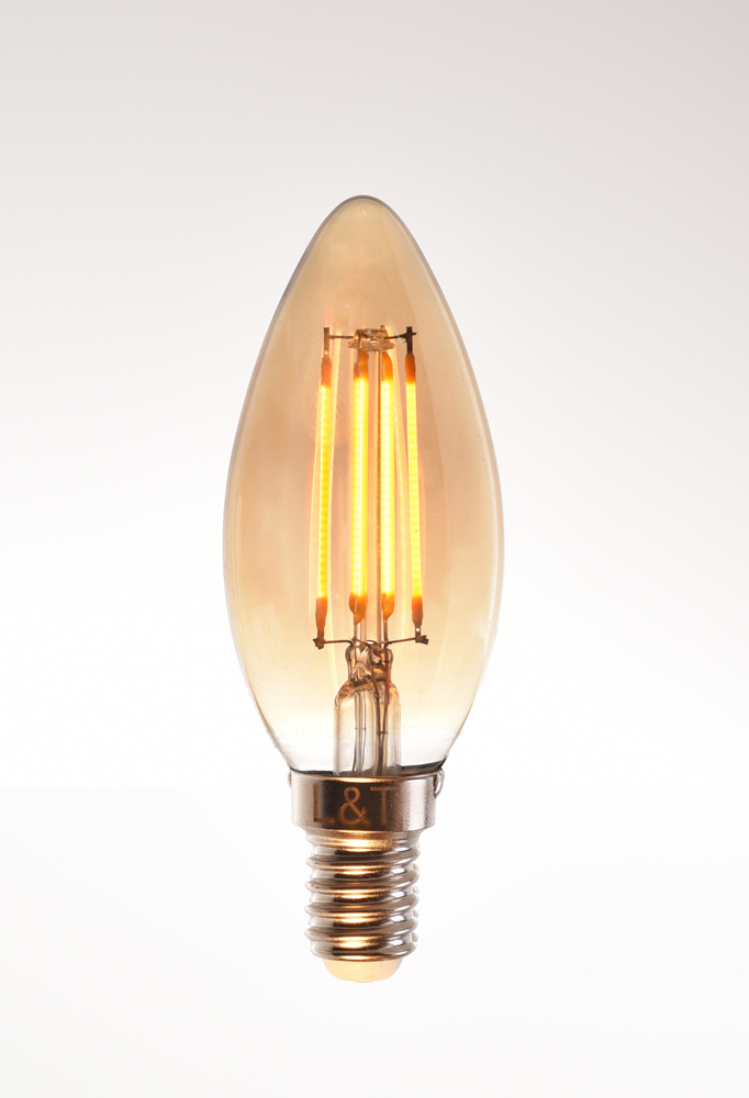 candle LED filament bulb 4 watt 2200K warm white 220V E14 clear by piment rouge lighting bali