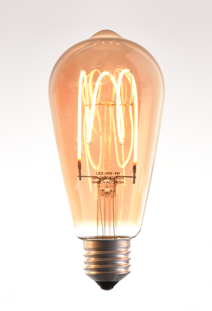decorative LED filament bulb E27 220-240V 50-60Hz gold spiral filament 4W by piment rouge lighting bali