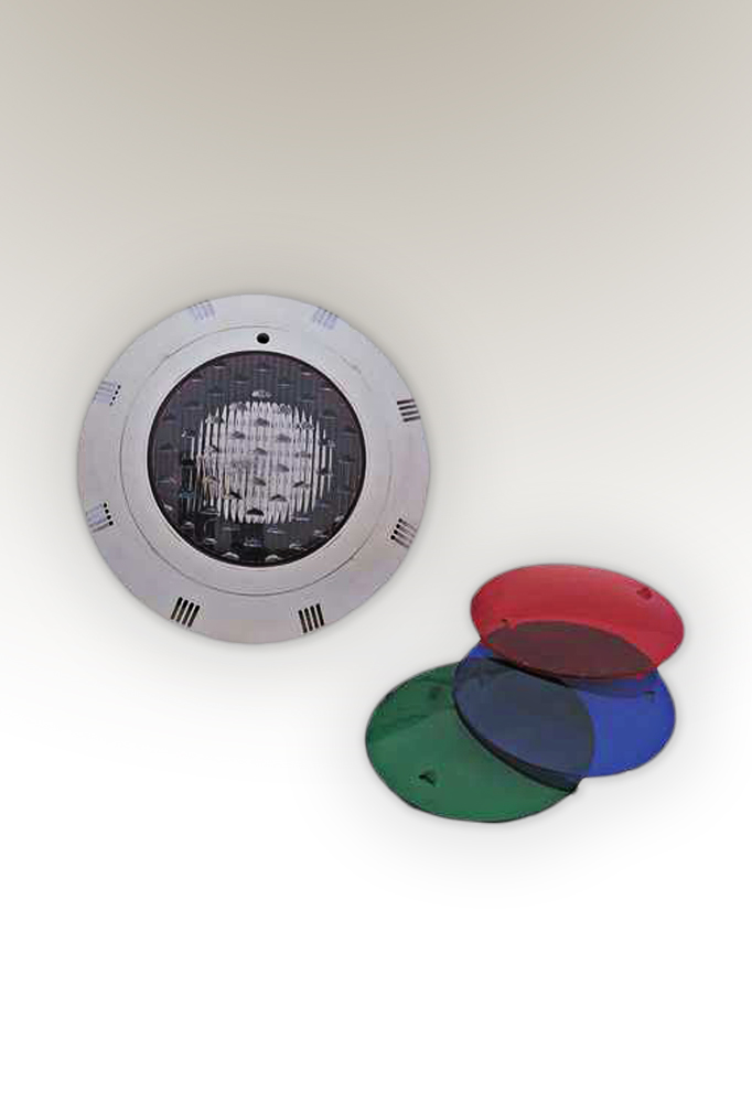pool light casing with 3 RGB filters without bulb - by piment rouge lighting bali