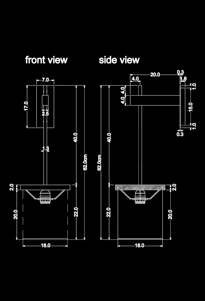 Piment Rouge Lighting Bali - Cylo Sconce Technical Drawing