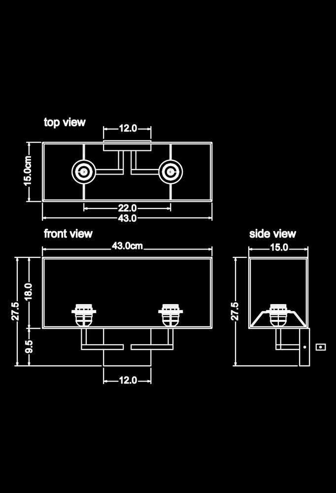 Piment Rouge Lighting Bali - Flato Wall Sconce Technical Drawing