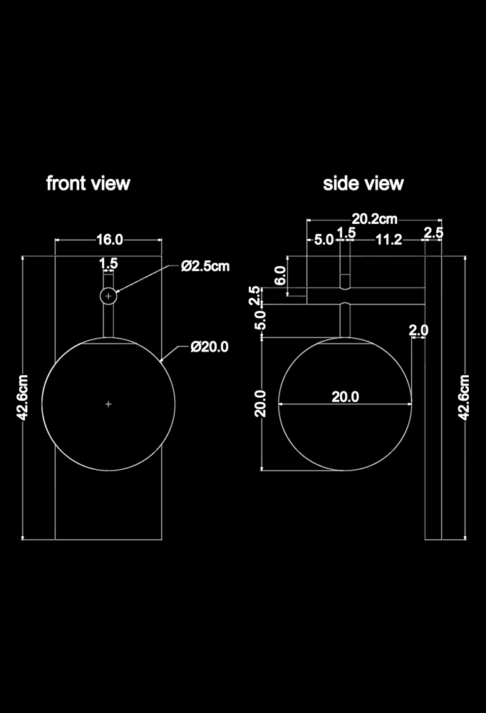 Piment Rouge Lighting Bali - Mona Sconce Technical Drawing