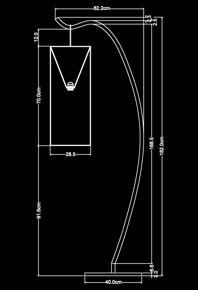 Piment Rouge Lighting Bali - Taite Standing Lamp Technical Drawing