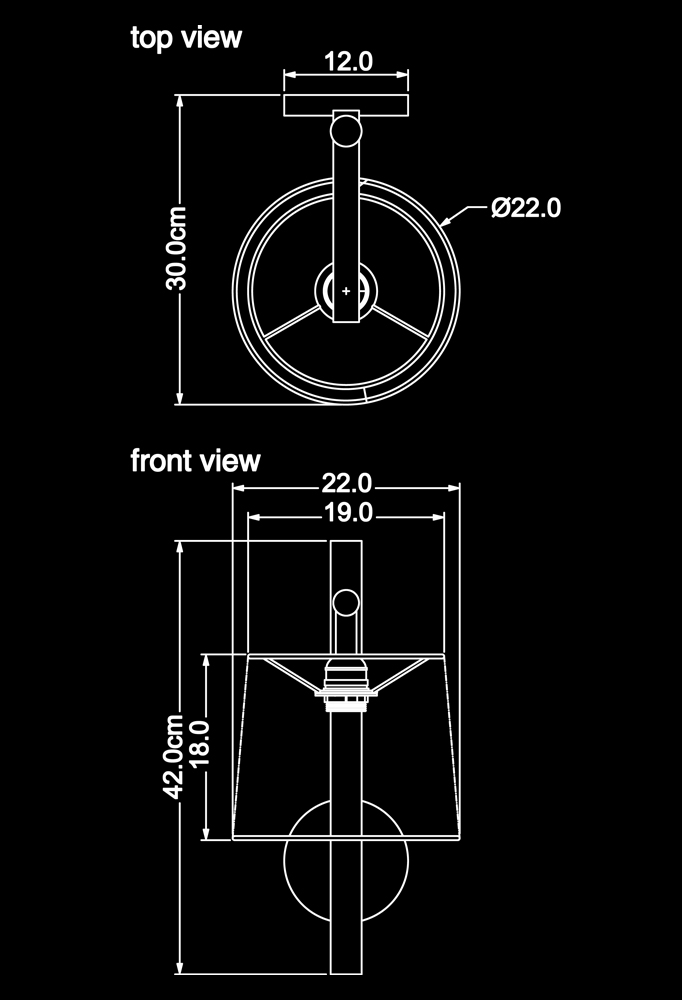 Piment Rouge Lighting Bali - Nassello Sconce Technical Drawing