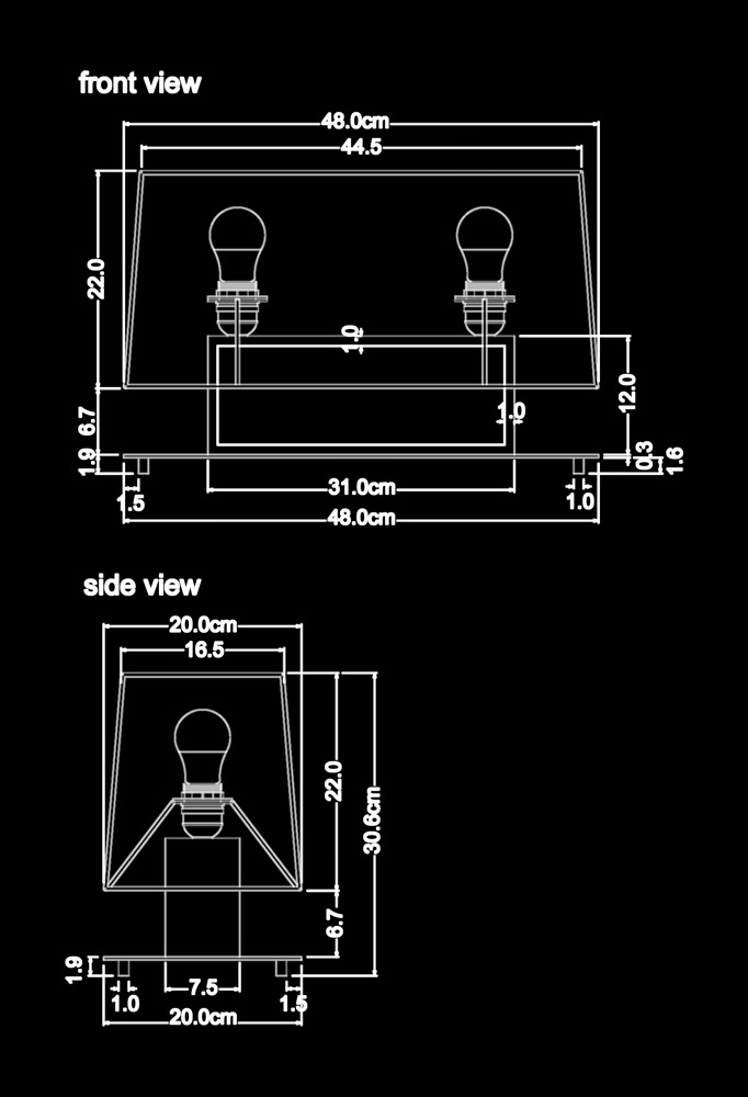 Piment Rouge Lighting Bali - Nitton Table Lamp Technical Drawing