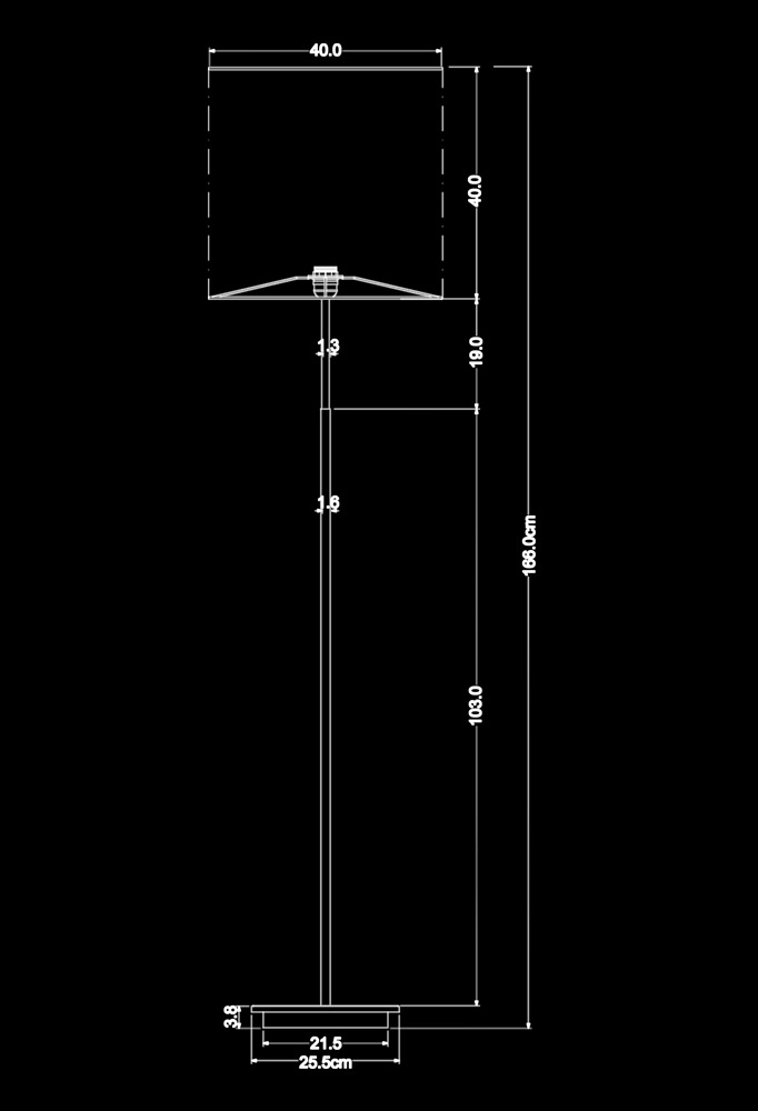 Piment Rouge Lighting Bali - Paxton Standing Lamp Technical Drawing