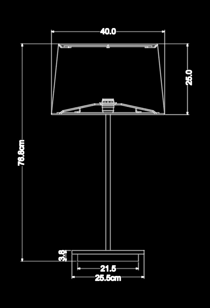 Piment Rouge Lighting Bali - Paxton Table Lamp Technical Drawing