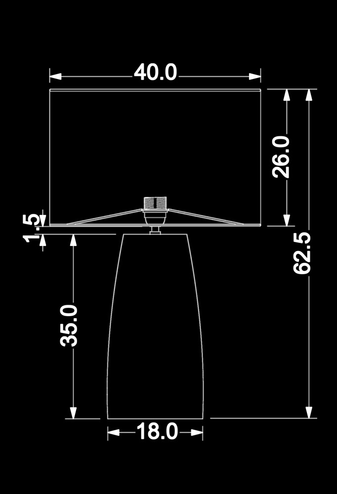 Piment Rouge Lighting Bali - Rondi Table Lamp Technical Drawing