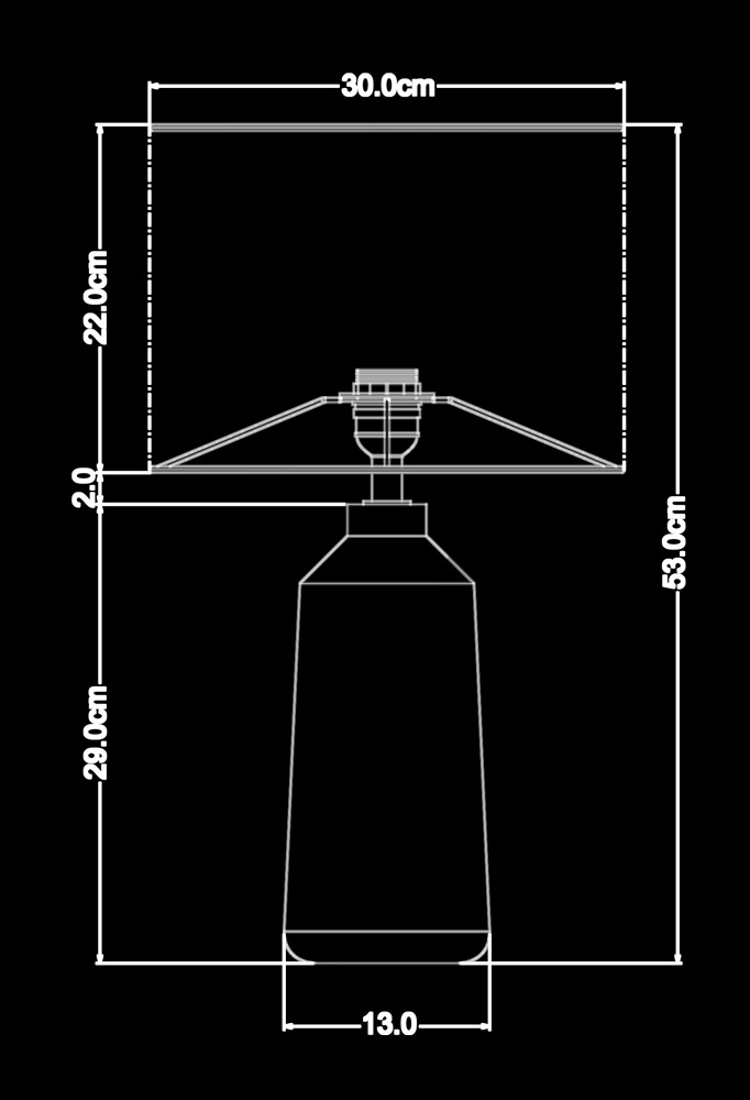 Piment Rouge Lighting Bali - Wilma Table Lamp Technical Drawing