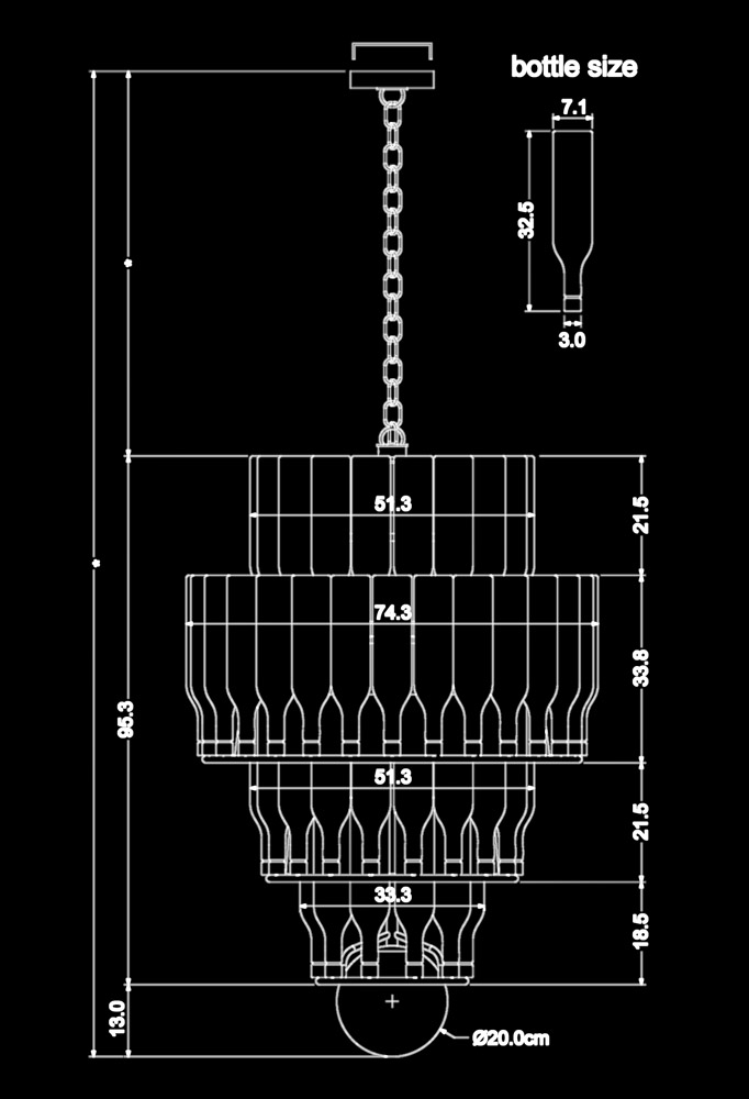 Piment Rouge Lighting Bali - Christo Pendant Lamp Technical Drawing