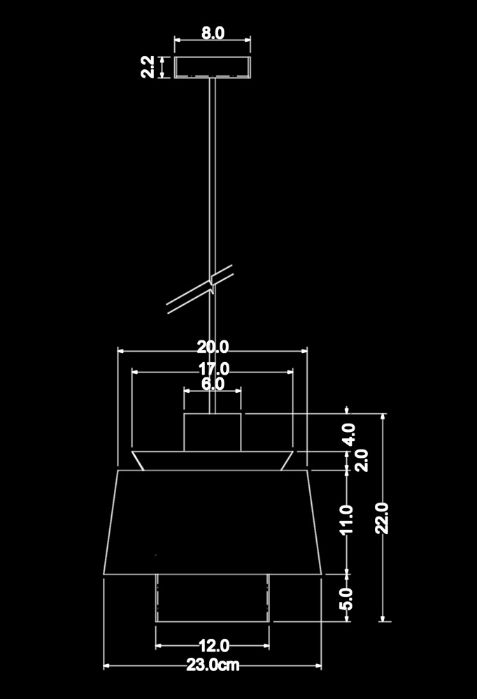 Piment Rouge Lighting Bali - Helmut Pendant Lamp Technical Drawing